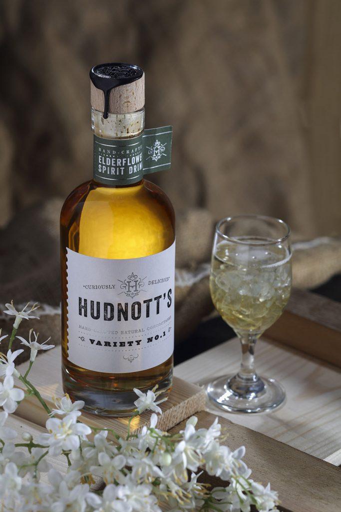 Hudnott's Elderflower Gin with glass